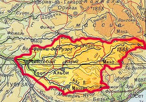 Бассейн реки Тарн на карте