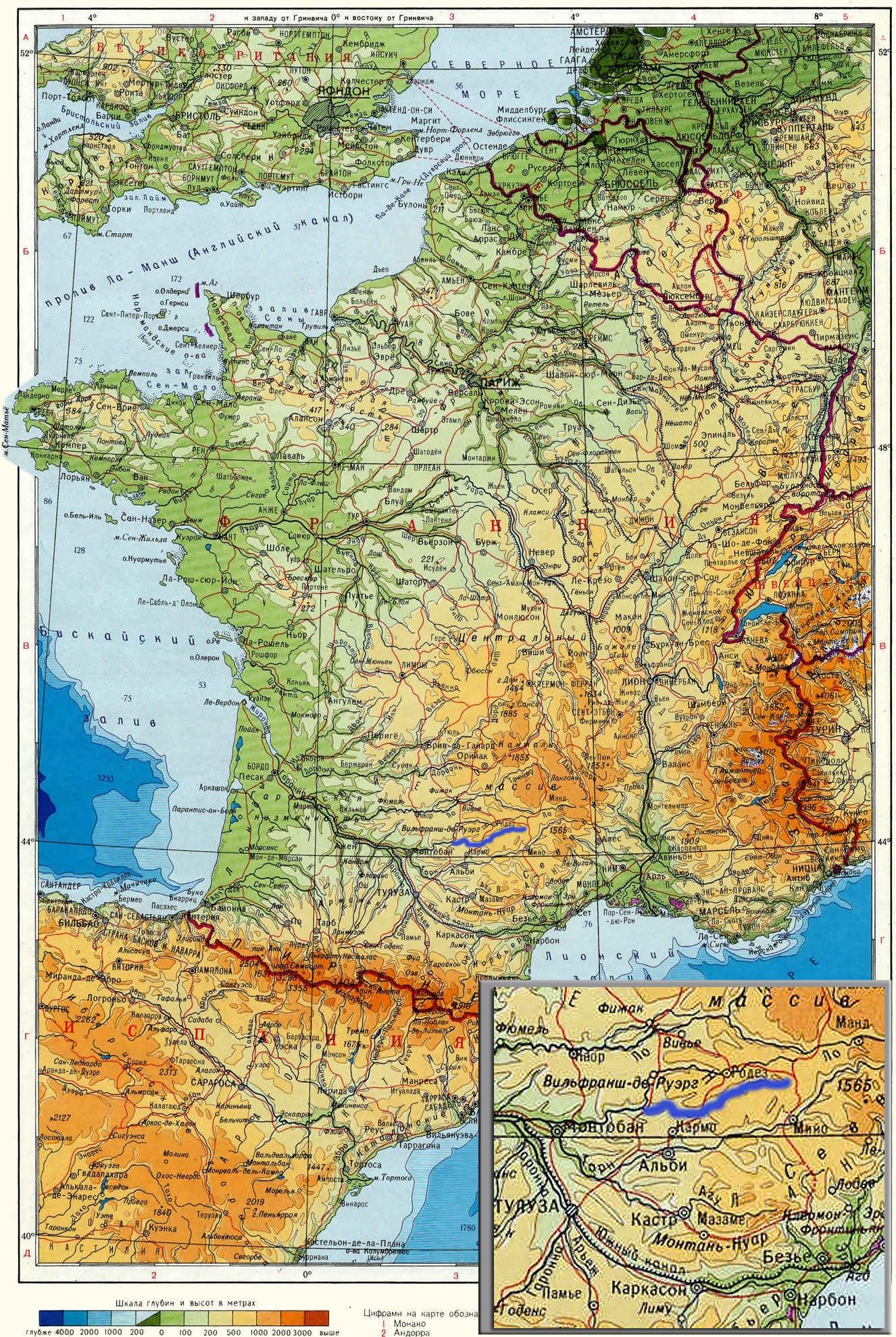 Река Вьор (Viaur) на карте