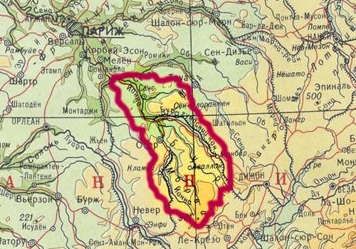 Бассейн реки Йонна на карте