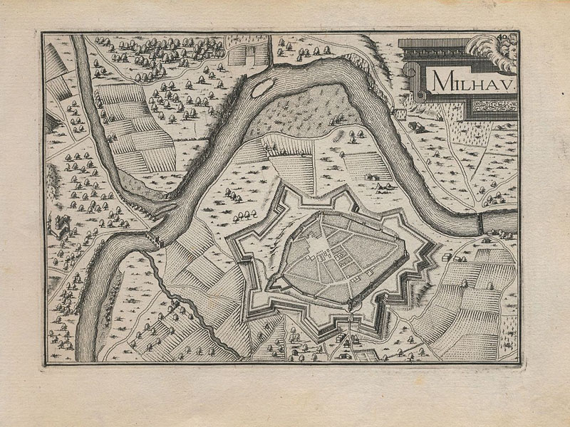 Город Мийо (Millau) в Средние века (гравюра 1634 г.)